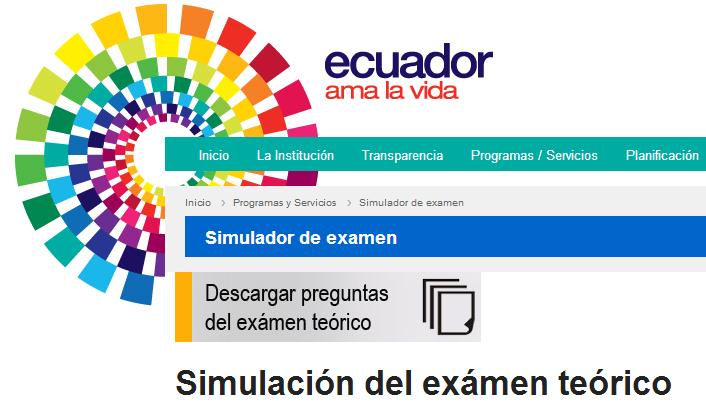Simulador de examen teórico en Ecuador
